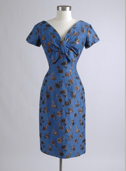 beautiful Late 1950's Oleg Cassini blue wool metallic brocade cocktail dress