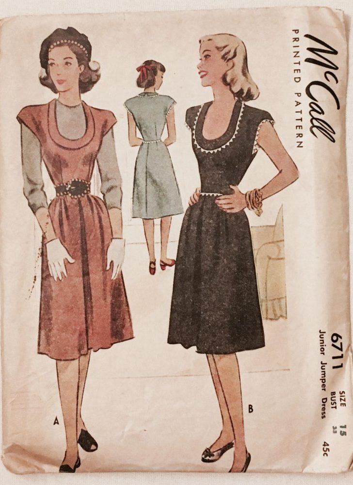 1940s vintage junior dress jumper McCall 6711