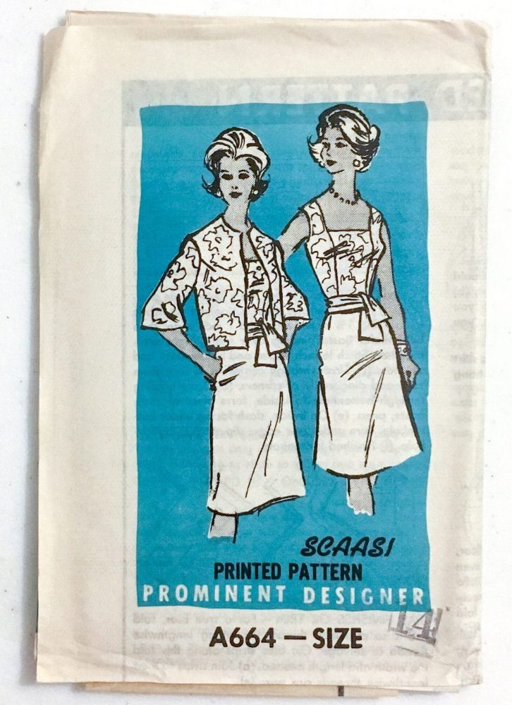 unused 1960s Arnold Scaasi dress + jacket pattern A664