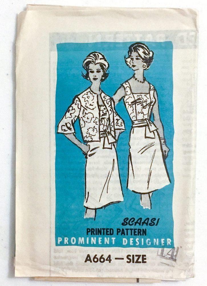 unused 1960s Arnold Scaasi dress + jacket pattern A664