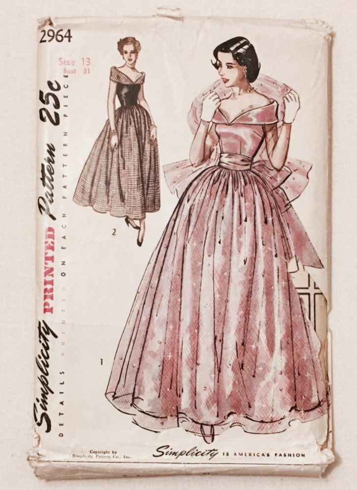 Wonderful 1940s evening gown pattern Simplicity 2964