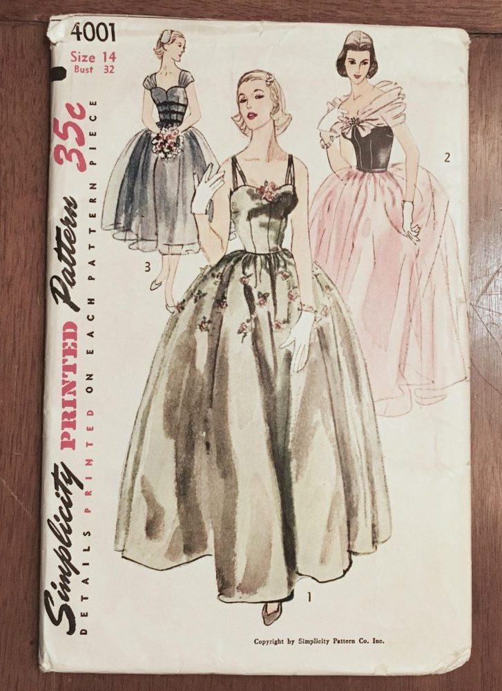 unused 1950s vintage evening gown pattern Simplicty 4001