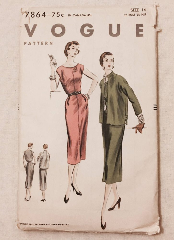unused 1950s vintage dress + jacket pattern Vogue 7864