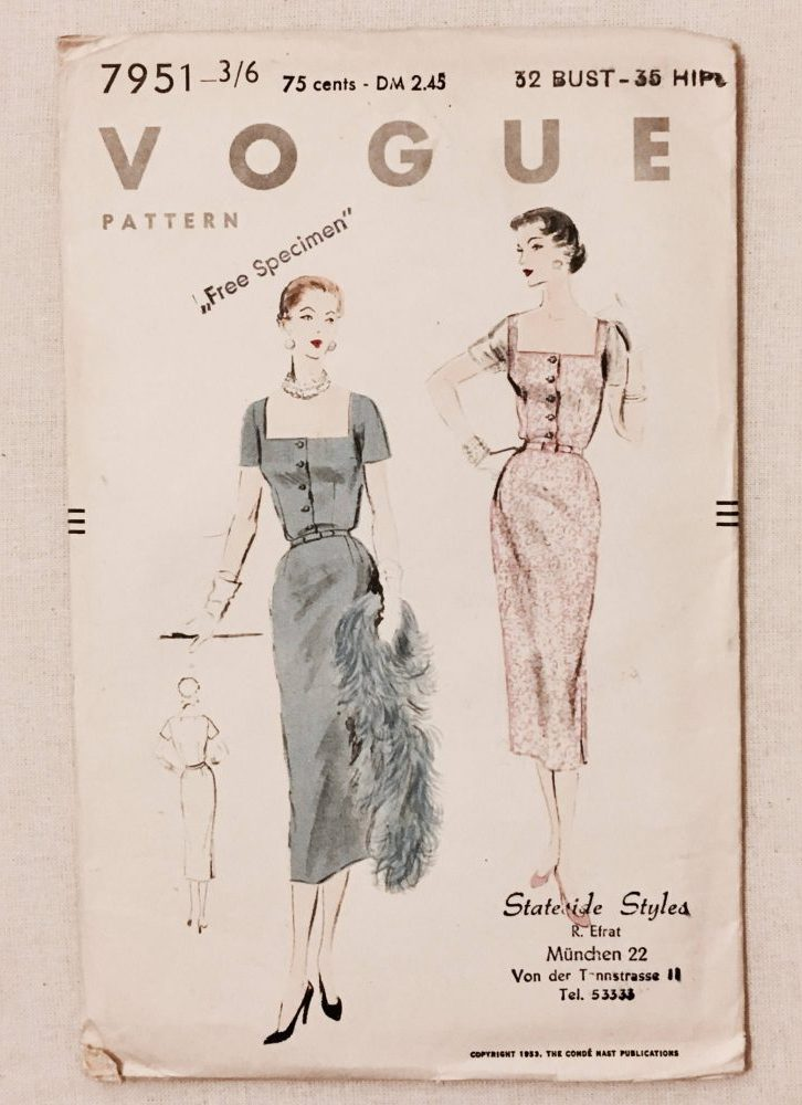 unused 1950s vintage dress pattern Vogue 7951