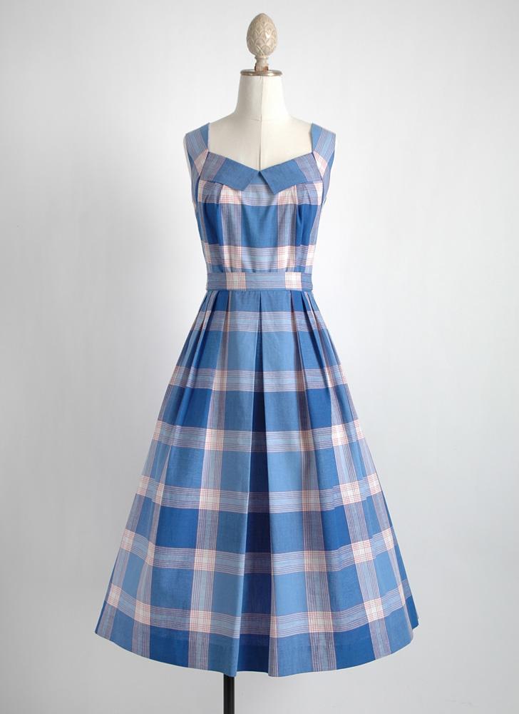 1950s plaid cotton open back dress