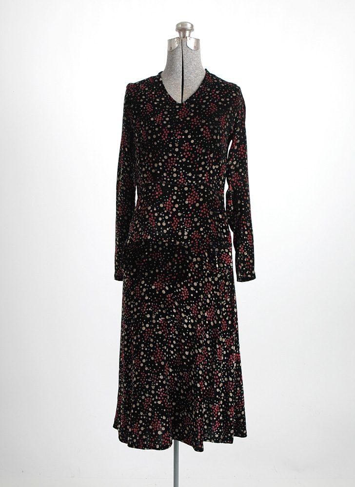 1920s bias-cut polka dot silk velvet dress