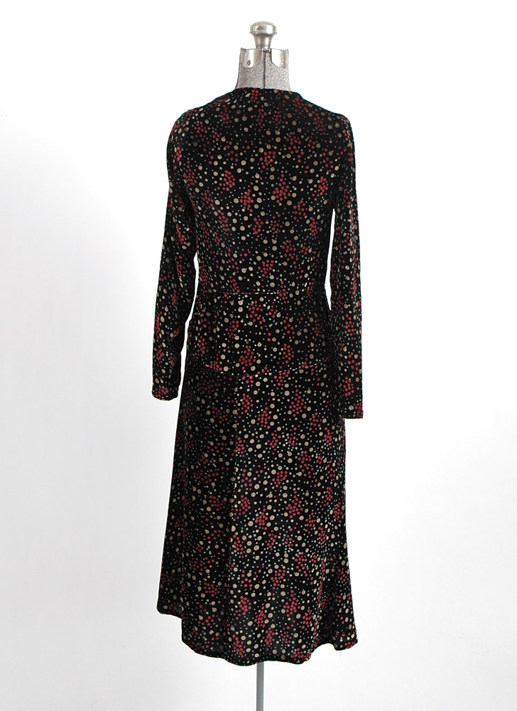 1920s bias-cut polka dot silk velvet dress