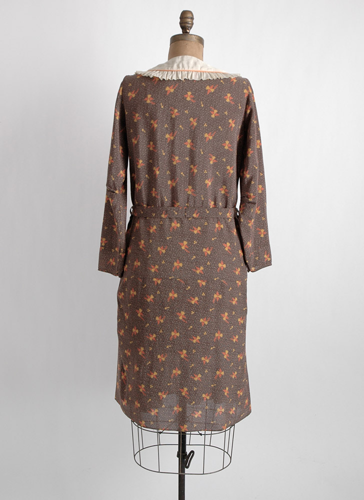 1920s 30s unworn mint printed silky dress