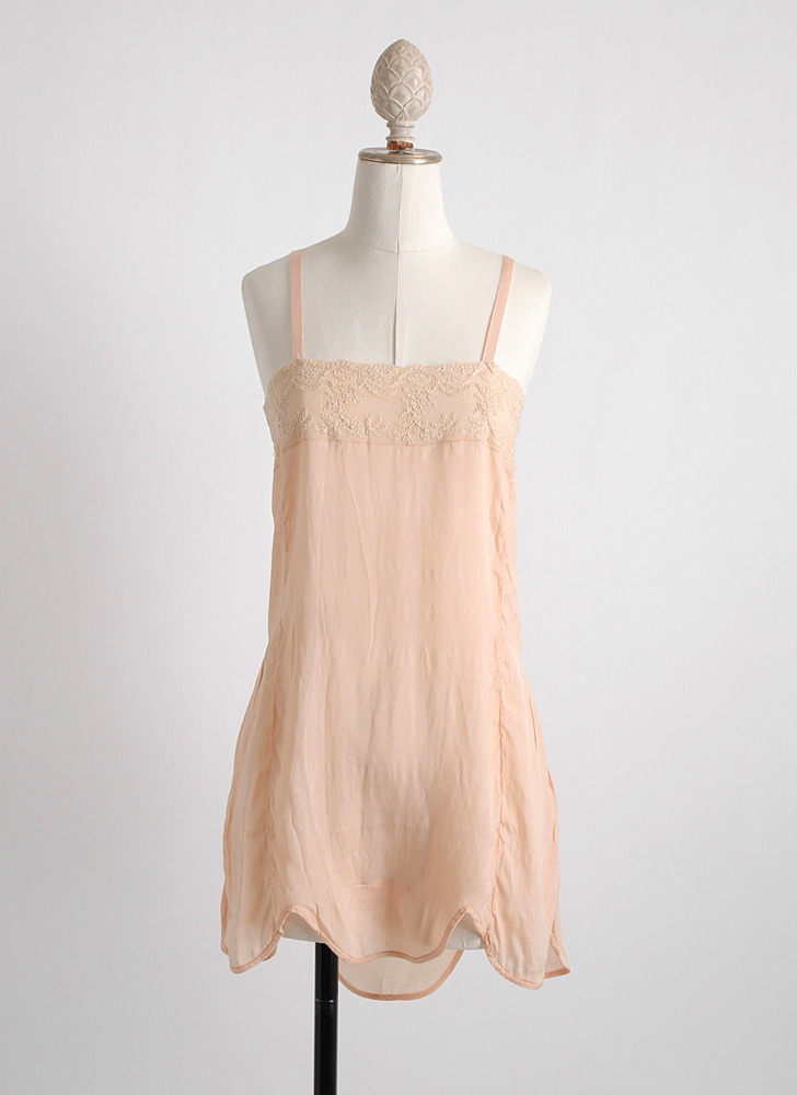 unworn 1920s peach silk + embroidered chiffon teddy