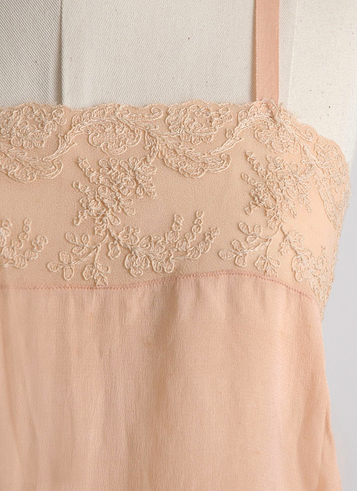 unworn 1920s peach silk + embroidered chiffon teddy