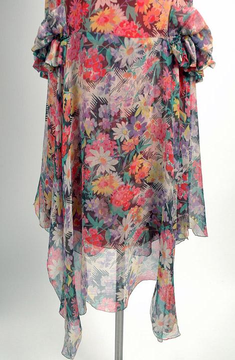 1920s Adoria Loeser's bias cut sheer floral silk chiffon dress