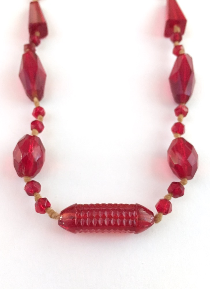 1920s Art Deco faceted Czech red glass necklace