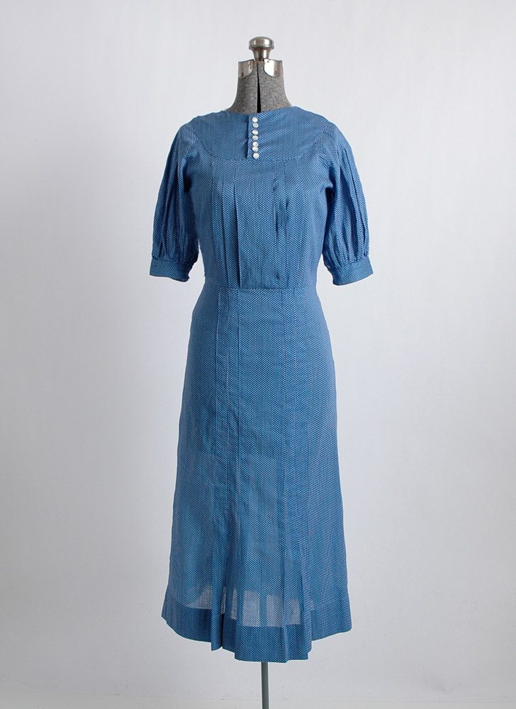 1930s blue cotton polka dot dress
