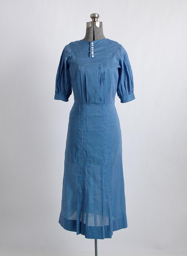 1930s blue cotton polka dot dress