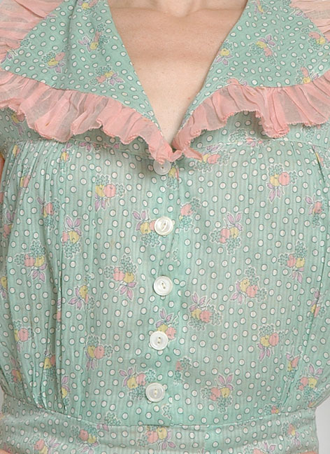 1930s cotton print dress with pink organdy ruffles