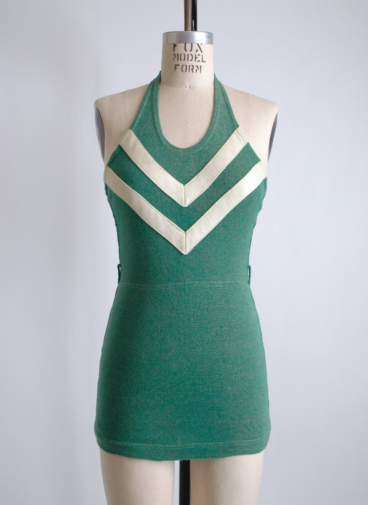 1930s chevron stripe green wool swimsuit sm