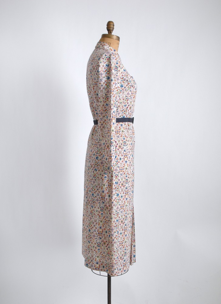 1930s cotton dress with great buttons + pockets