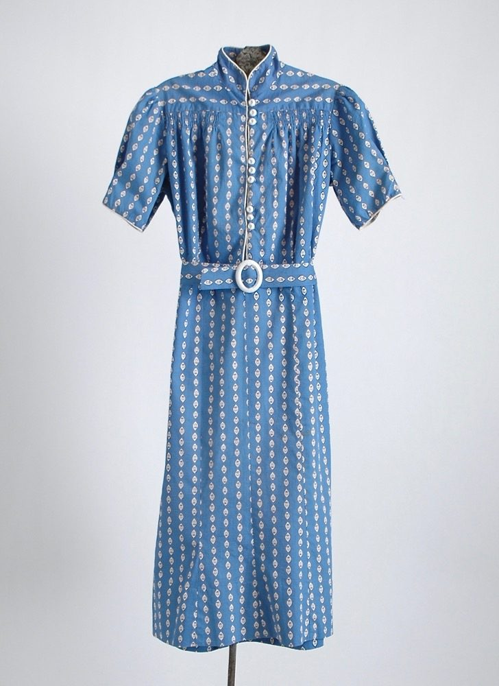 1930s blue + white cotton dress