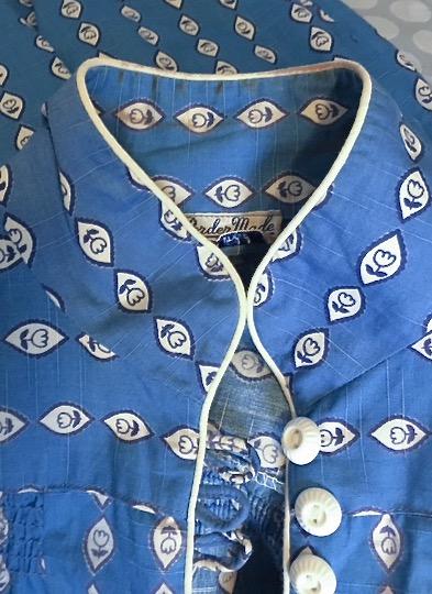 1930s blue + white cotton dress
