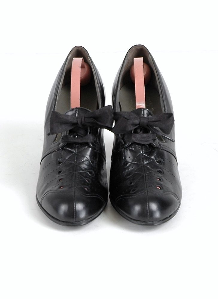 1930s ribbon laced black leather Cuban heels