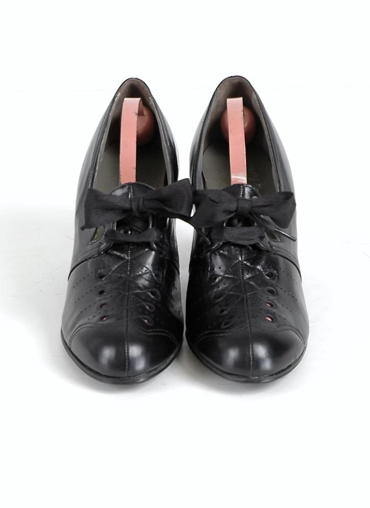 1930s ribbon laced black leather Cuban heels