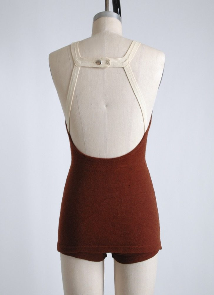 1930s strappy maroon wool skirted bathing suit swimsuit with white trim