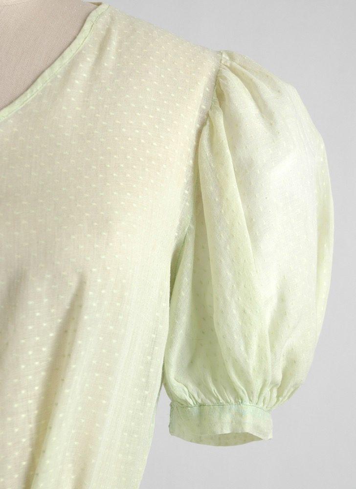 1930s green Swiss dot cotton blouse