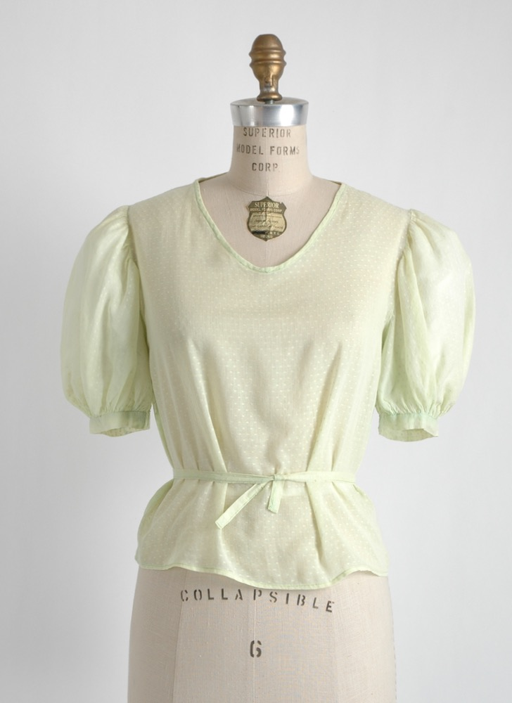 1930s green Swiss dot cotton blouse