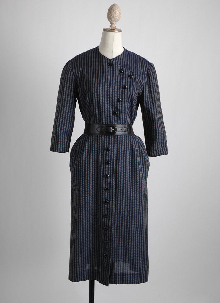 1940s asymmetrical dark blue stripe dress