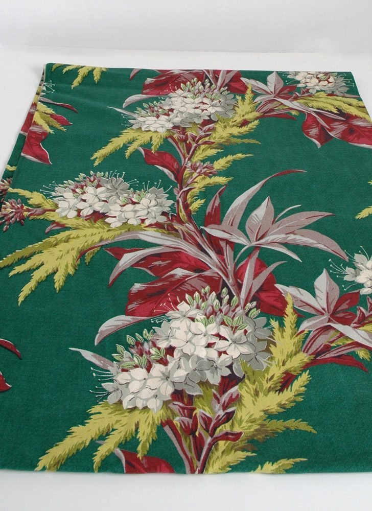 3 1/4 yds unused 1930s 40s green floral barkcloth