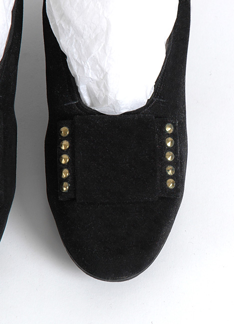 1940's I. Miller black suede with brass studs heels