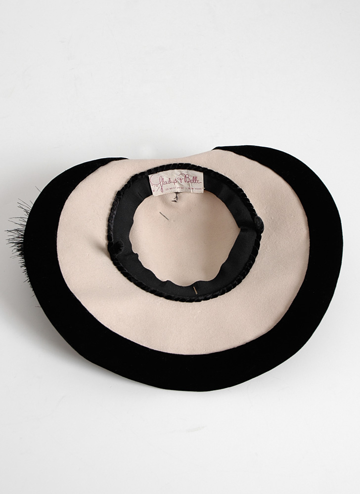 1940s Gladys + Belle white + black feather hat
