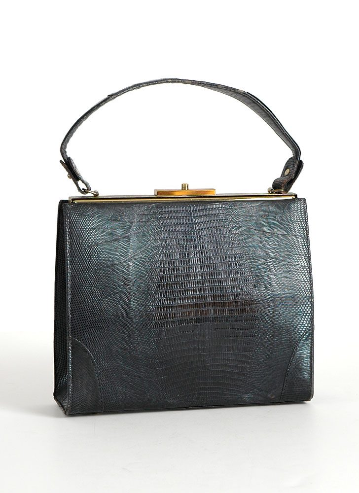 1940s 50s Vassar lizard skin box purse