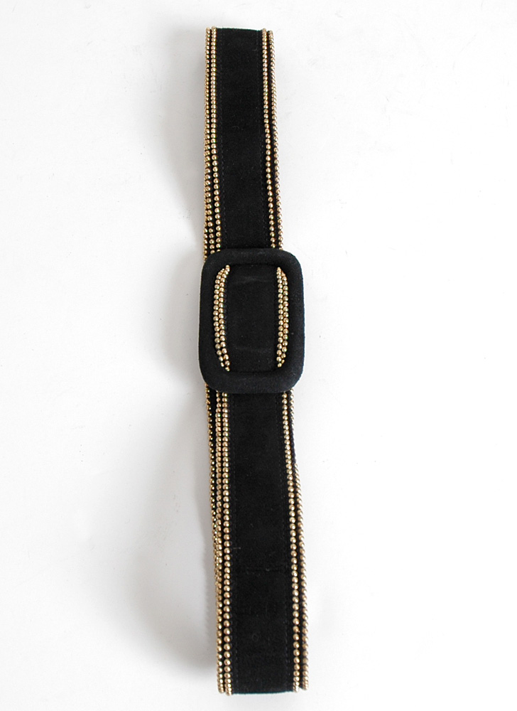 "1940s Criterion black suede + gold bead belt 27""w"