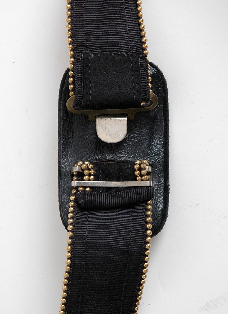 "1940s Criterion black suede + gold bead belt 27""w"