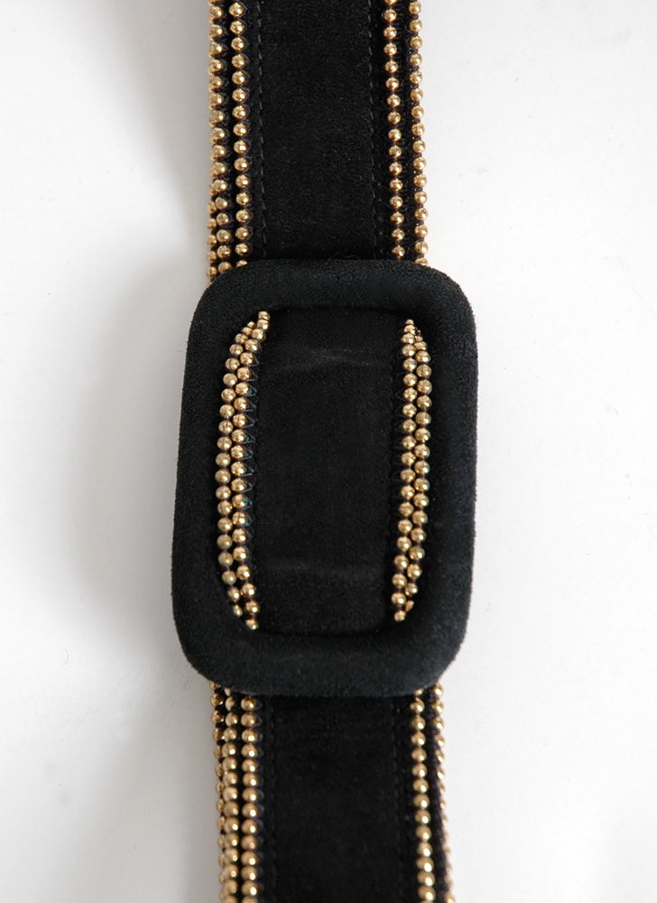 1940s Criterion black suede + gold bead belt 27″w