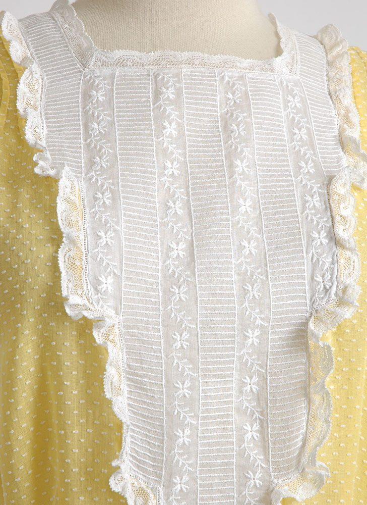 1930s 40s yellow swiss dot dress with embroidered organdy