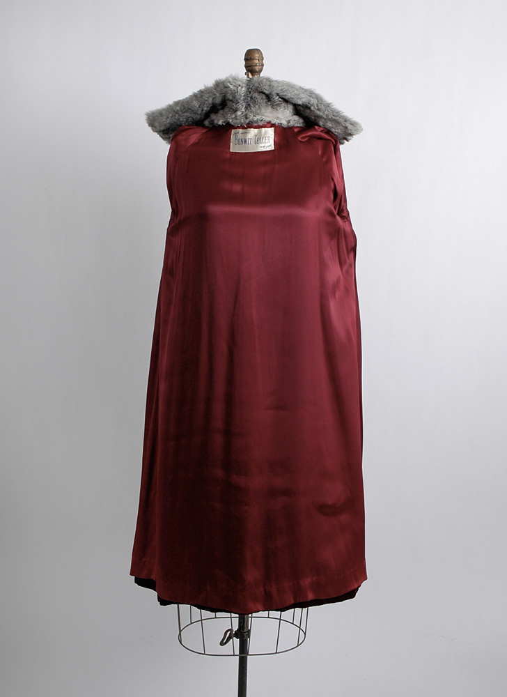 1940s 50s Bonwit Teller red velvet + fur coat