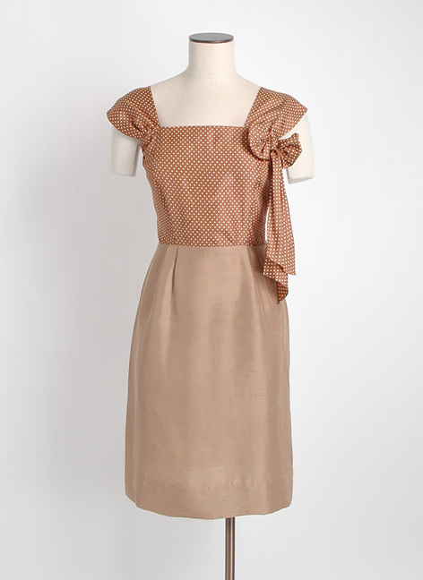 1940s brown silk polka dot suit dress + jacket
