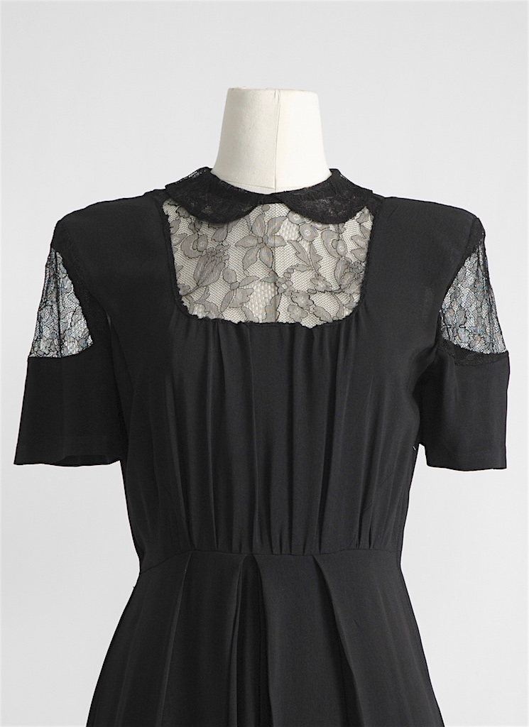 1940s black rayon dress with lace insets