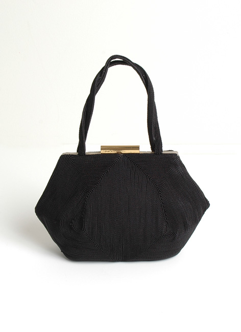 1940s Weeda black corde purse