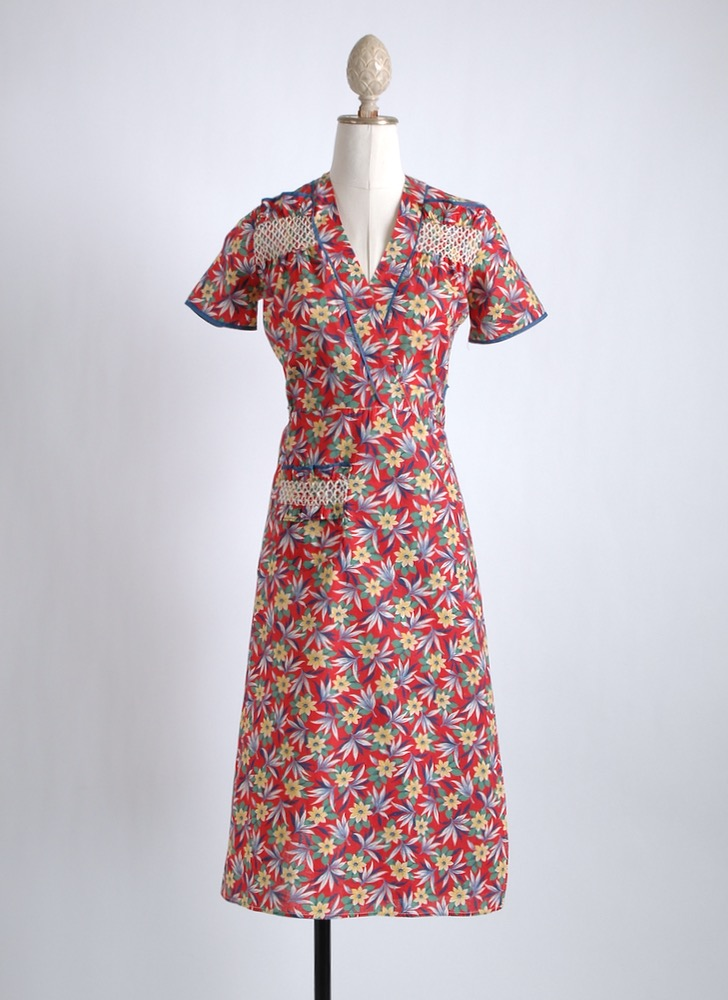 1930s 40s red cotton wrap dress old stock