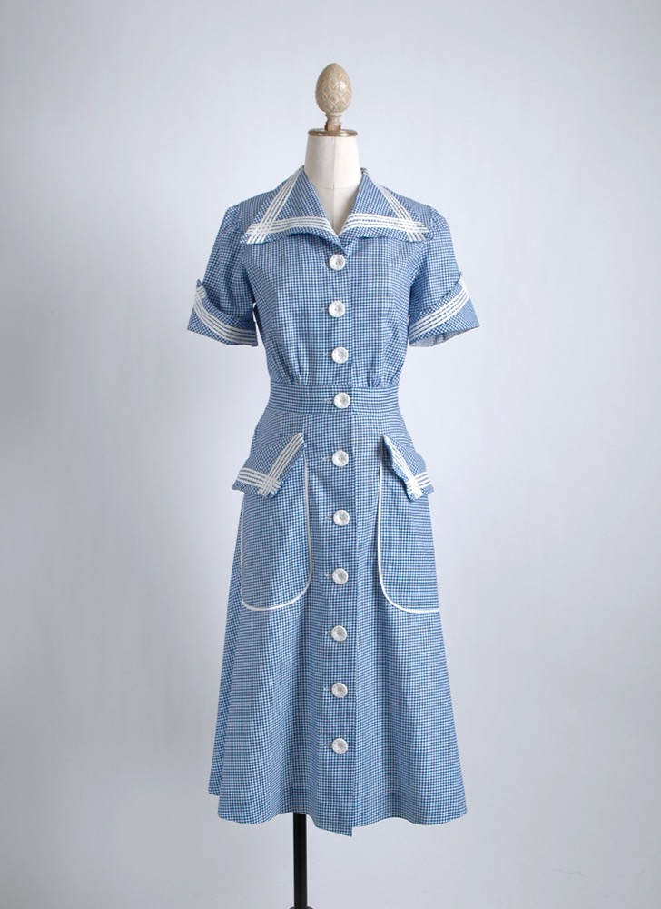 1940s blue gingham cotton dress old stock