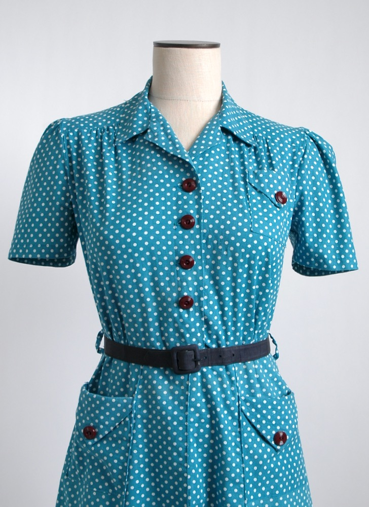 1930s 40s blue + white polka dot cotton dress