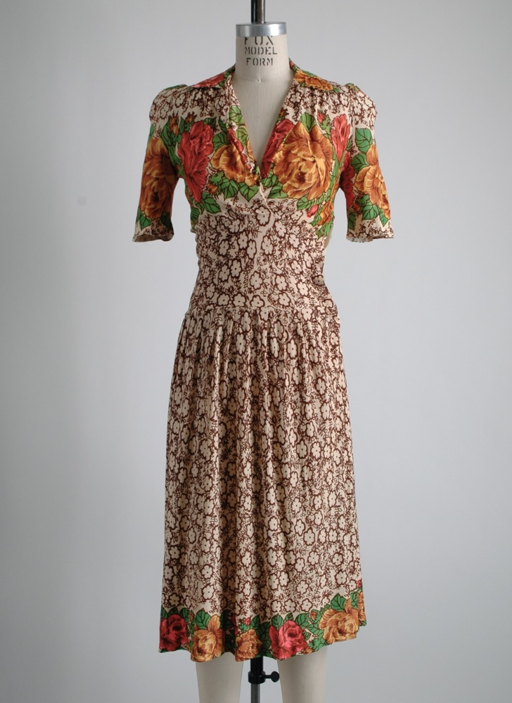 1940s floral nylon dress as-is