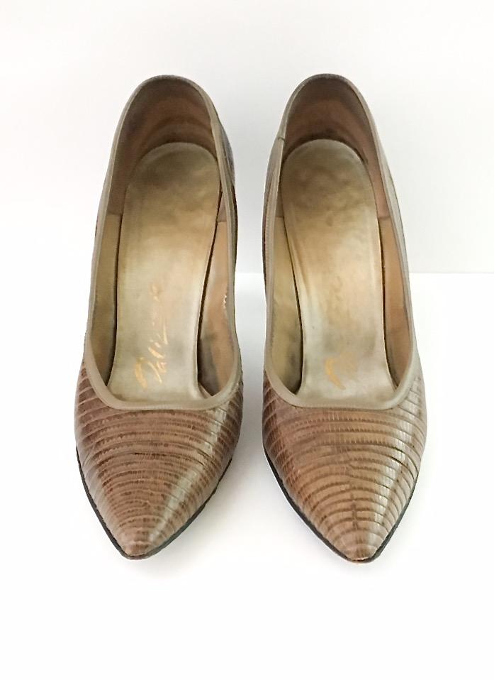1950s Palizzio lizard heels + purse set