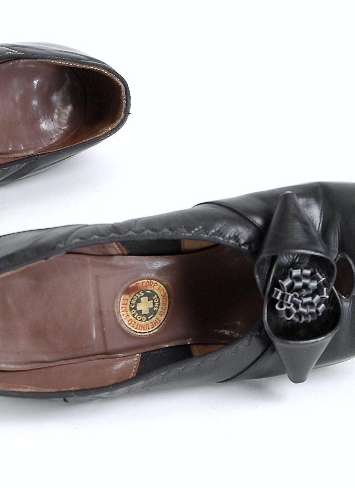 1940s Gold Cross black leather heels