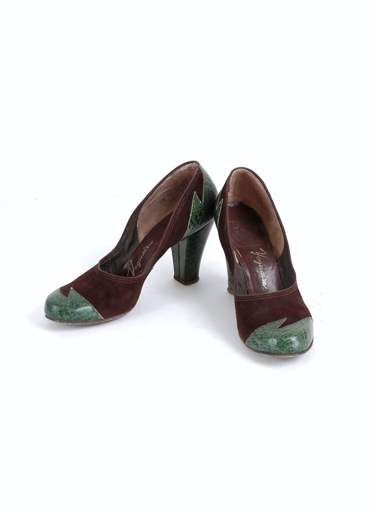 1940s Voguaire faux snake skin suede heels