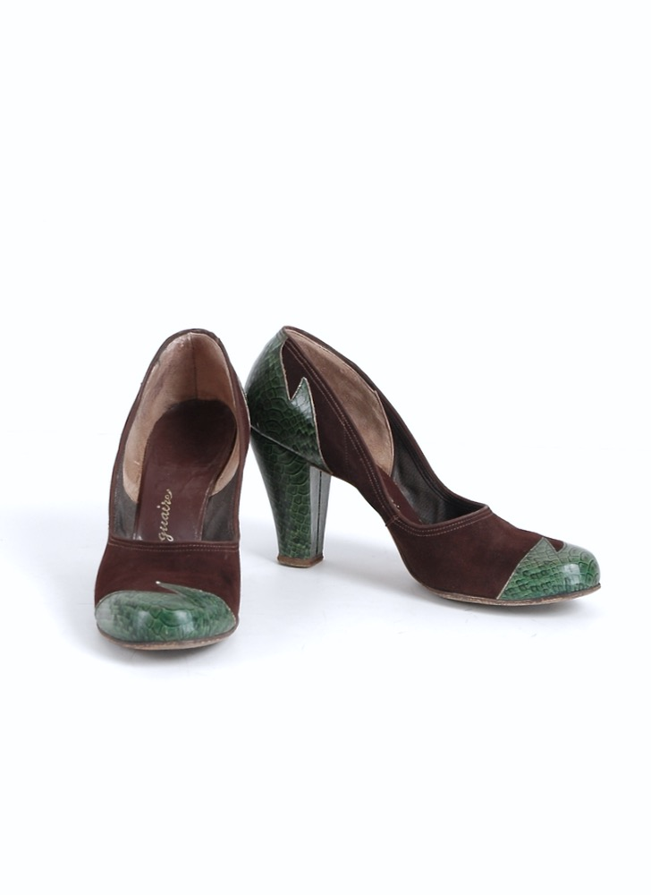 1940s Voguaire faux snake skin suede heels