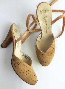 1940s Herbert Levine suede studded heels